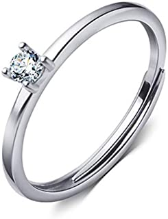Fashion Solitaire Statement Ring Sterling Silver 925 for Women Girls Cubic Zirconia Diamond Adjustable Wedding Engagement ...