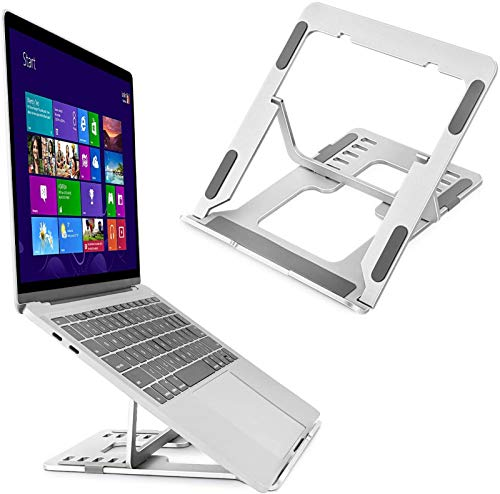 Laptop Stand Aluminum Laptop Holder Riser Computer Tablet Stand with Slide-Proof Silicone 6-Angles Adjustable Ergonomic Computer Holder
