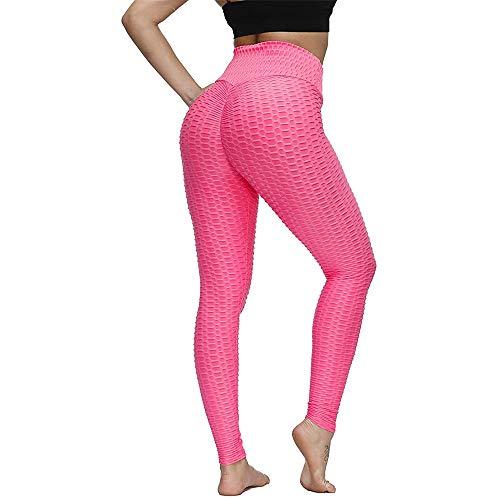JHION - Mallas de yoga para mujer, diseño de panal, color azul Rosa rosa S