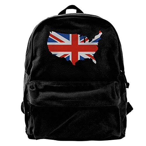 Zaini Casual, Zaini per PC portatili, Unisex Classic Canvas Backpack Union Jack Unique Print Style,Fits 14 Inch Laptop,Durable,Black