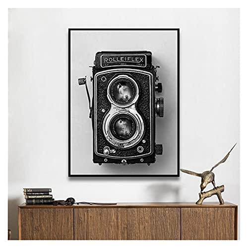 CBYLDDD Rolleiflex Old Cámara Cartel Negro Blanco Vintage Cámara Imprimir Hipster Regalo Fotografía Muro Arte Pintura Retro Decoración 20x28 Sin Marco