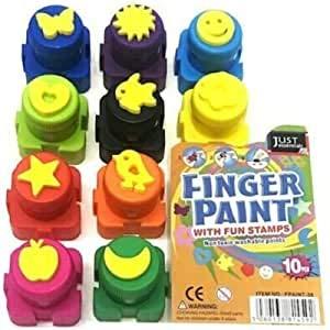 Copper Top - 10PCS Colour Interlocking Finger Paint with Fun Stamps – Nontoxic Washable Paints - Safe Finger Paints Kit for Kids Toddlers Babies Adults Gift Set