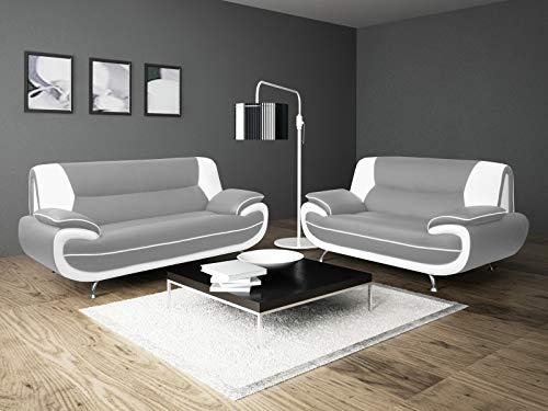 Lewis Grey White Faux Leather 3+2 Seater Sofa Set Suite Settee Retro Style Chrome Legs