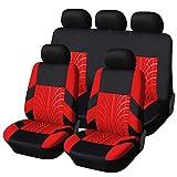 wenxin Cubiertas Asiento Automóvil Bordado Conjunto Universal Fit Must Cars Cubiertas con Protector Asiento Automóvil Pista Neumáticos, Cubiertas Asiento Automóvil (Color Name : Red Full Set)