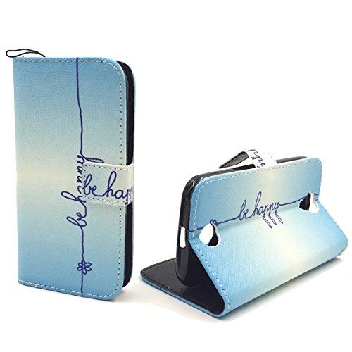 König Design Handyhülle Kompatibel mit Acer Liquid Z330 Handytasche Schutzhülle Tasche Flip Hülle mit Kreditkartenfächern - Be Happy Blau