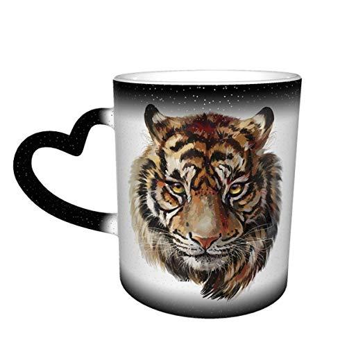 DJNGN Taza con cabeza de tigre, taza de café, taza sensible al calor, taza que cambia de color, 11 oz