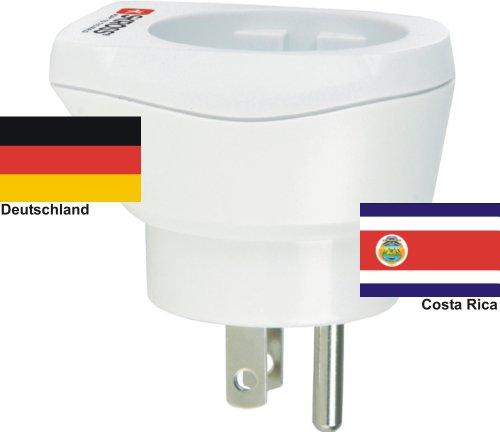 hochwertiger Design Reiseadapter Deutschland auf Costa Rica 220-230V Schukostecker Umwandlungsstecker Reisestecker Netzstecker - Germany - Costa Rica