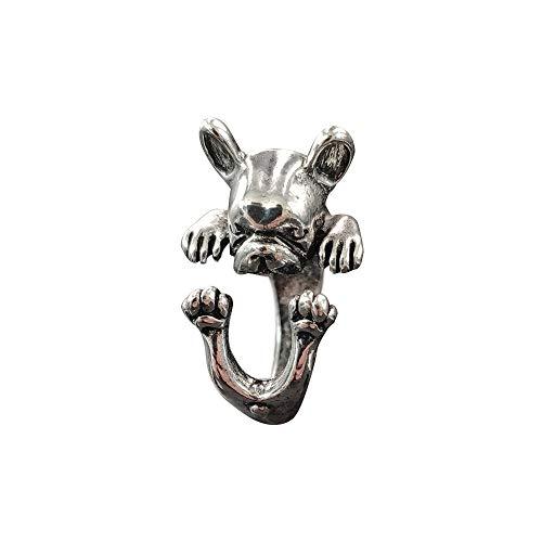 Dachshund German Shepherd French Bulldog Classic Animal Dog Adjustable Ring Embossed Design Jewelry(French bulldog)