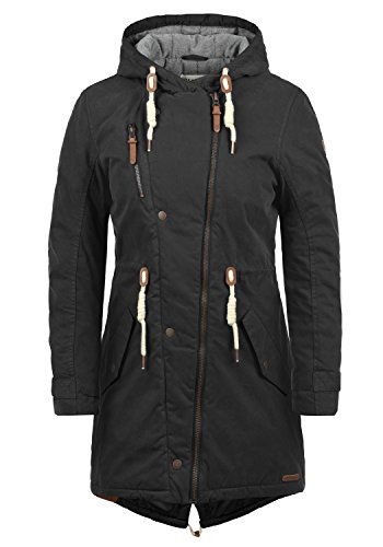 DESIRES Lew Damen Wintermantel Parka Mantel Mit Kapuze Und Fütterung, Größe:S, Farbe:Black (9000)