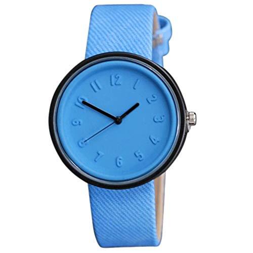 Yunnuopromi - Orologio da polso per coppie, con numeri arabi, quadrante rotondo, cinturino in stoffa, analogico, al quarzo Blu