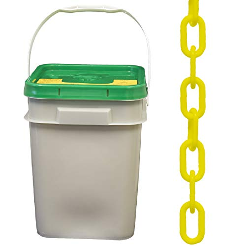 Mr. Chain Plastic Barrier Chain Pail, Yellow, 1.5-Inch Link Diameter, 300-Foot Length (30002-P)