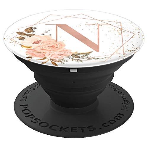 Rose Pfirsich Rosa Blumen Aquarell Geschenk Buchstabe N - PopSockets Ausziehbarer Sockel und Griff für Smartphones und Tablets