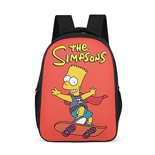 Unisex-Kinder Schulranzen The Simpsons Skateboarding Junge Kinderrucksack Rucksaecke Stilvoll Backpack Wickeltasche für Kindergarten Grundschule Bright Gray OneSize