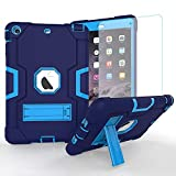 iPad Mini Case, Mini 2 Case, Mini 3 Case, Rugged Kickstand Series - Shockproof Heavy Duty Hybrid Three Layer Armor Defender Kids Child Proof Case Cover (Blue + Screen Protector)