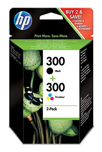 HP 300 Combo Pack CN637EE Confezione da 2 Cartucce, 1 Nero e 1 Colore Compatibile con Stampanti a Getto d'Inchiostro DeskJet D2560, D2660, F4280, F4224, F4283 e Photosmart Serie C, Nero e Tricomia