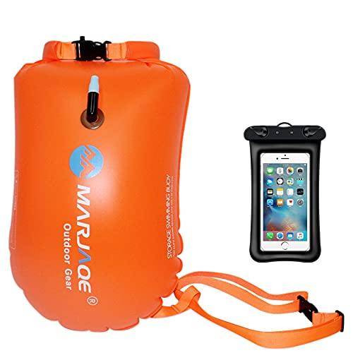 Generic Flotador impermeable inflable, boya de natación y funda para el teléfono móvil, 20 l, color naranja