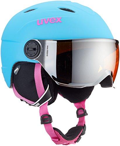 Uvex Kinder junior Visor pro Skihelm, LiteBlue Mat, 54-56 cm