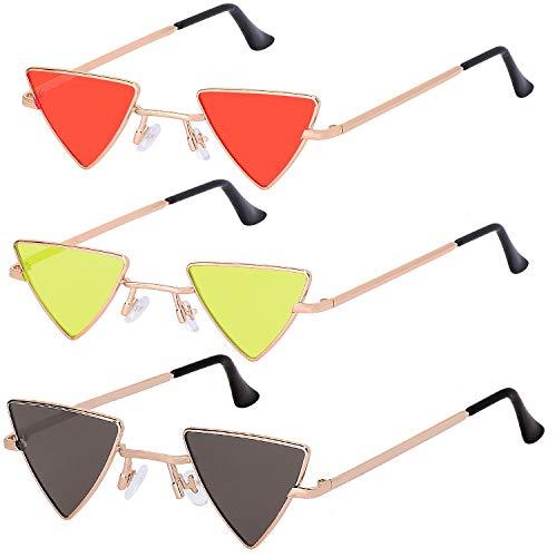 Haichen 3 Paar Classic Triangle Sonnenbrille Retro Punk Metall Spiegelrahmen Cat-Eye Brille für Frauen Männer Candy Color (Grau + Rot + Gelb)