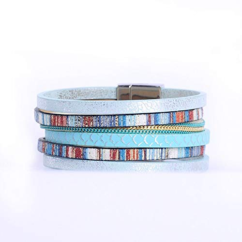 Multi-Layer PU Leather Bracelet Metal Chain Magnetic Clasp Women wrap Masculina bijoux Bracelet Pulsera