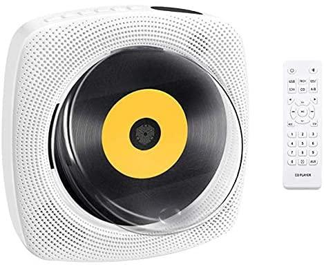CDプレーヤー 壁掛け&置き兼用 cdプレーヤー コンパクト LEDディスプレイ CD Bluetooth FM USB MP3対応 HIFI 時間設定 防塵カバー付き 音楽再生 胎児教育 語学学習 日本語説明書付き