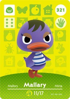 Mallary - Nintendo Animal Crossing Happy Home Designer Series 4 Amiibo Card - 321