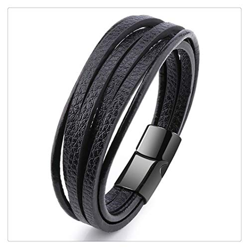 ZAOPP Bracelet Men Multilayer Leather Bangles Magnetic-clasp Cowhide Braided Multi Layer Wrap Trendy Bracelet Armband Accessories (Color : 7.87inch 20cm, Size : 9)