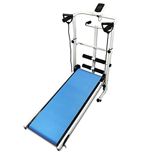 MUPAI Tapis roulant Manuale, Display LED, Funzionamento, Sit-up e Twist Tapis roulant 3-in-1 145 * 54 * 110 cm (Blu,145x54x110cm)