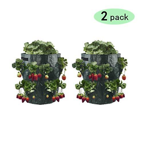 Mabax 2er Set Pflanzsack Erdbeeren Pflanzbeutel Pflanztasche mit 8 Taschen aus PE-Gewebe für Kartoffeln Erdbeeren