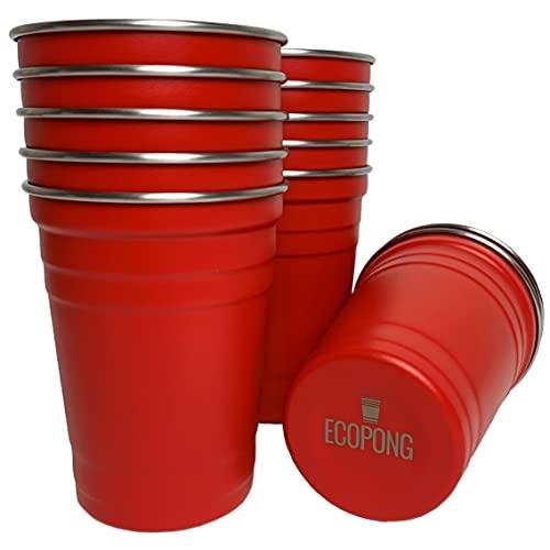 ECOPONG Beer Pong Becher aus Edelstahl • Red Cups • Mehrweg • wiederverwendbar • spülmaschinengeeignet • 12 Stück im Set • 16 oz - 473 ml