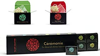 Tea Gift Collection, Ceremonie Tea: Premium Variety Gourmet Sampler Pack. Perfect Holiday Gift. 12 Individually Wrapped Silky Mesh Bags of Herbal Teas and Blends. 12 Different Single Serve Pouches.