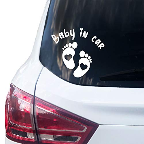 P005 | Baby in Car Aufkleber 15cm x 14cm Auto Sticker Babyaufkleber Autoaufkleber Vinyl (Weiss)