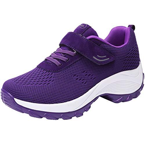 Luckycat Mujer Zapatillas de Deporte Cuña Zapatos para Correr Plataforma Sneakers con Cordones Calzado de Malla Air Tacón 5cm Zapatillas Mujer Zapatos de Malla de Deporte Respirable Zapatos Cordones