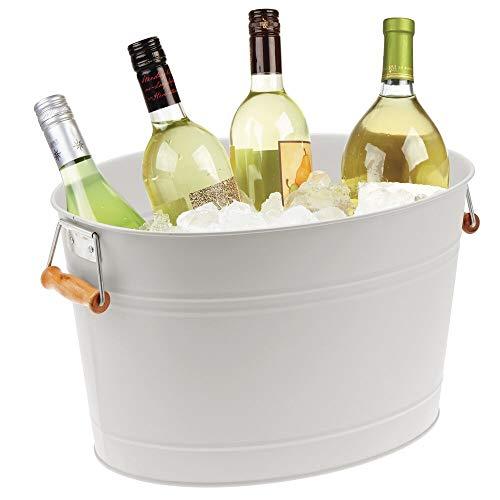 mDesign Flaschenkühler aus Metall – dekorativer Getränkekühler mit Griffen – ideal als Getränkewanne für Wein, Bier, Sekt oder Softgetränke – hellgrau