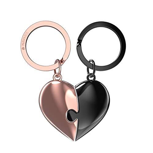 Navaris Llavero de Metal con Forma de corazón Doble - 2X Llaveros divisibles para Parejas Novios Amigos Especiales Familia - Plateado y Oro osa