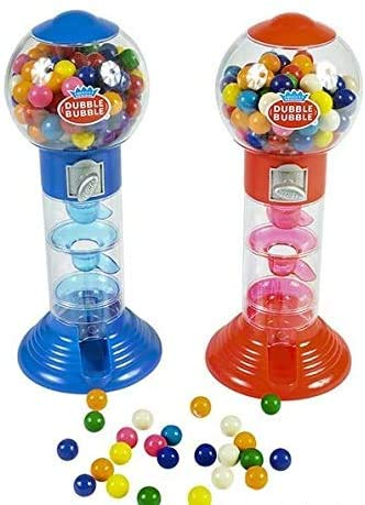 Playee 10.5' Coin Operated Spiral Gumball Machine Toy Bank - Dubble Bubble Spiral Style - Kids Coin Bank - 1 Piece Color May Vary