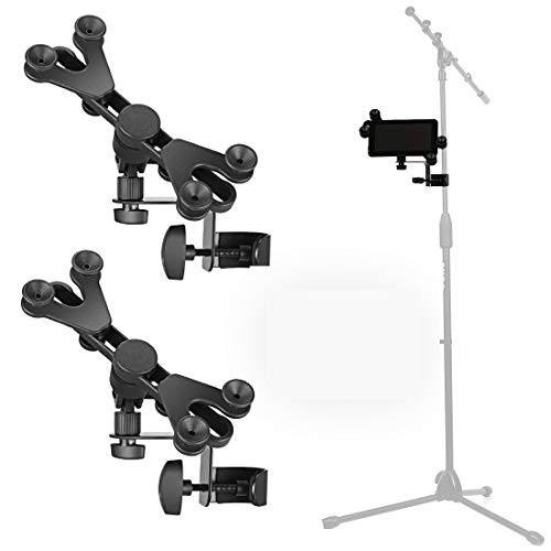 Pack of 2 - Hola! Music HM-MTH Microphone Music Stand iPad Tablet Smartphone Holder Mount - Fits Devices from 6 to 15 Inch