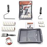 Pinto Deluxe ® Premium Farbroller Malerset Malerpinsel - Komplett Streichset mit XXL Farbwanne, Abdeckfolie, Farbroller, Pinsel, Kreppband