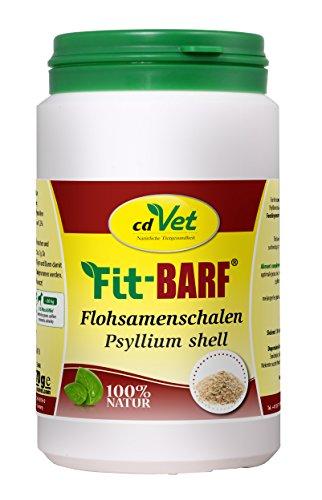cdVet Naturprodukte Fit-BARF Flohsamenschalen 170 g - Hund&Katze - Ballaststoffe - für leichtfuttrige Hunde - als Sättigungsbeilage - Erhöhung des Kotvolumens - Analdrüse - Rohfütterung - BARFEN -