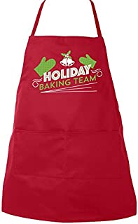 Zoey's Attic Apron Holiday Baking Team - Funny Adult bib Apron (Red)