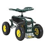 Carrello da giardino Rolling Wagon Scooter per Piantare Sedile di lavoro girevole con Tool Storage Utility Basket