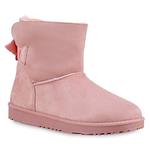 Warm Gefütterte Boots Damen Stiefeletten Schleifen Bommel Kunstfell Schlupfstiefel Schlupfstiefeletten Schuhe 129637 Rosa Schleife 39...