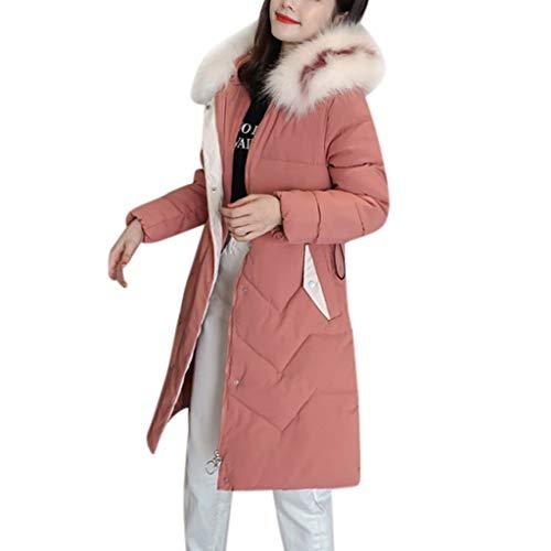 Winter Klassisch Daunenjacke Damen Warme Mantel Frauen Lange Dicke Pelzkragen Baumwolle Parka Slim Jacke Zipper Einfarbig Warm Jumper Top Outwear Bluse