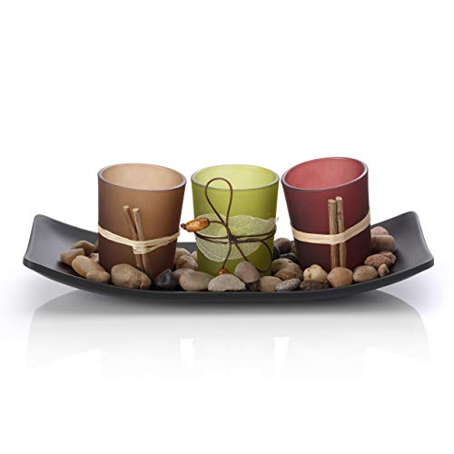 Artis Set of 3 Tea Light Votive Glass Candle Holders with Tray and Decorative Pebbles – Nature Zen Design, Tealights not included