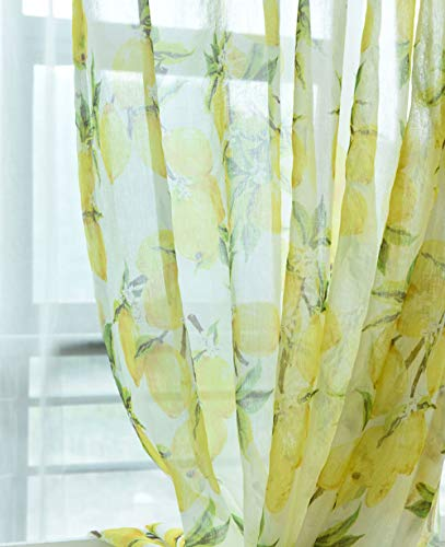 pureaqu Nordic Style Yellow Lemon Pattern Window Sheer Curtain Panels for Kids/Nursery Room Rod Pocket Printed Semi Sheer Voile Curtain Drapes Tulle for Dining Room 1 Panel W39 H84 Inch