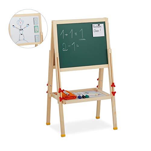 Relaxdays Standtafel Kinder, höhenverstellbar & magnetisch, Holz, Whiteboard & Kreidetafel, 81-104 x 45 x 42 cm, Natur
