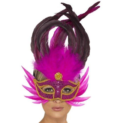 Smiffys Halloween Karneval Maske strahlende Diva Pinke Federn Augenmaske