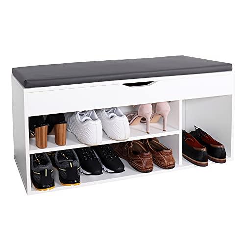 RICOO WM034-W-A Meuble à Chaussures 103x49x30cm Bois Blanc Banc Coffre Rangement Commode Banquette Meuble de Rangement Chaussures Coussin Gris