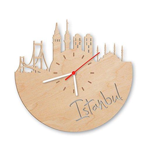 Skyline Istanbul Wanduhr aus Birken-Holz Made in Germany | Design Uhr aus Echtholz | Wand-Deko aus Birke | Originelle Wand-Uhr | Moderne Wand-Uhr im Skyline Design | Wand-Dekoration aus Natur-Holz