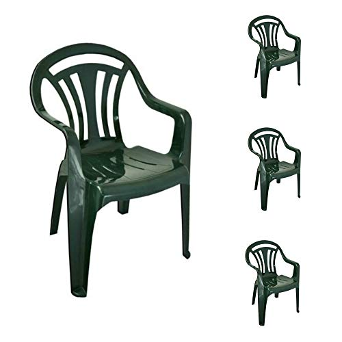 Sizi Ltd Set of 4 Garden Low Back Chair Patio Furniture Armchair Lightweight Indoor & Outdoor Camping Home Lawn Picnic Stackable Seat Plastic Green