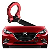 DEWHEL JDM Aluminum Track Racing Front Bumper Car Accessories Auto Trailer Ring Eye Towing Tow Hook Kit Screw On for 2014-up Mazda3 2014-up Mazda6 2013-up Mazda CX-5 2016-up Mazda MX-5 (Red)